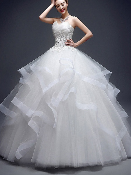Ball Gown Wedding Dresses Strapless Floor Length Lace Tulle Strapless Sexy Red_2