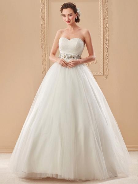 Ball Gown Wedding Dresses Sweetheart Neckline Floor Length Tulle Sleeveless Open Back_9
