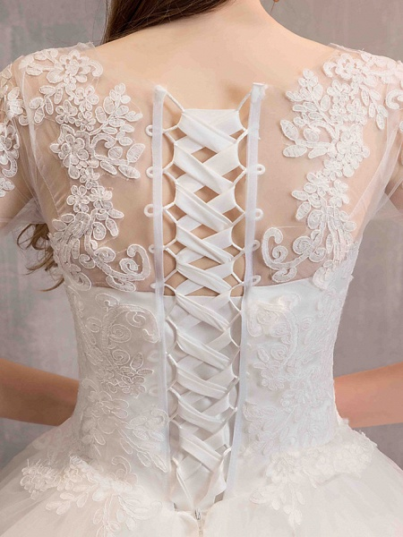 Ball Gown Wedding Dresses Jewel Neck Floor Length Lace Tulle Half Sleeve Glamorous See-Through Backless Illusion Sleeve_11