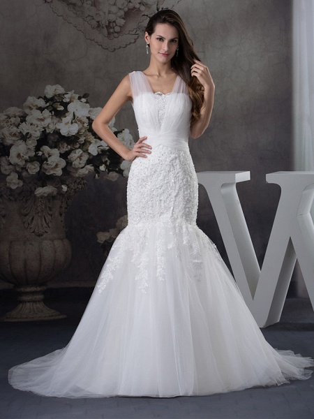 Mermaid \ Trumpet Scoop Neck Chapel Train Lace Tulle Regular Straps Wedding Dresses_1
