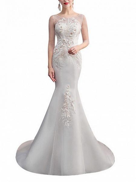 Mermaid \ Trumpet Wedding Dresses Jewel Neck Sweep \ Brush Train Lace Tulle Half Sleeve_1