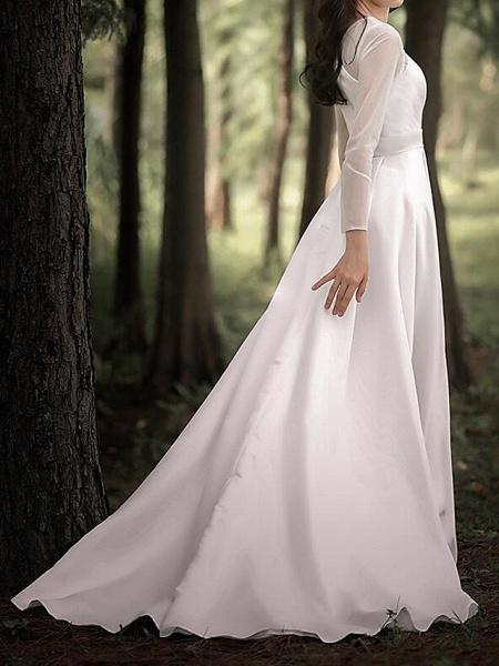 A-Line Wedding Dresses V Neck Court Train Chiffon Satin Long Sleeve Simple Elegant_7