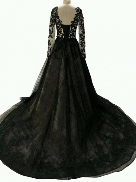 A-Line Wedding Dresses V Neck Sweep \ Brush Train Polyester Long Sleeve Formal Plus Size Black_2