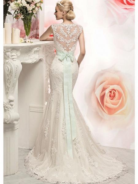 Mermaid \ Trumpet Wedding Dresses Jewel Neck Court Train Lace Tulle Cap Sleeve_2