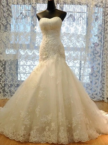 Mermaid \ Trumpet Wedding Dresses Strapless Court Train Lace Organza Stretch Satin Sleeveless Formal_1