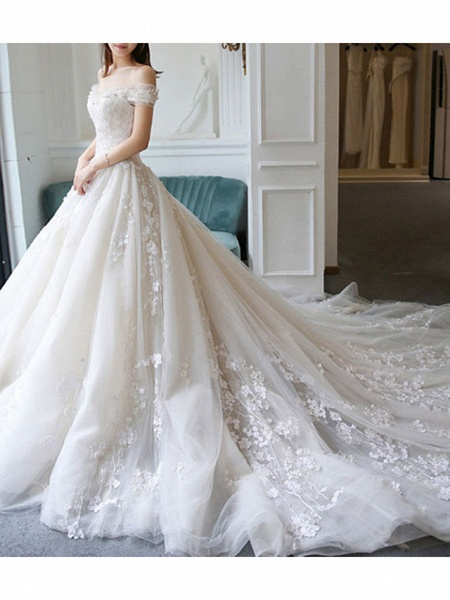A-Line Wedding Dresses Off Shoulder Sweep \ Brush Train Lace Tulle Cap Sleeve Casual Plus Size_4