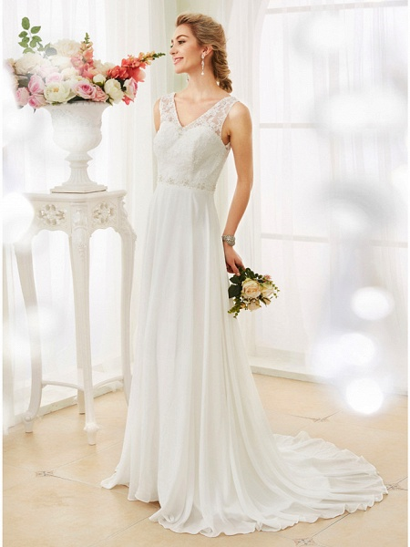 A-Line Wedding Dresses V Neck Court Train Chiffon Lace Bodice Regular Straps Sexy Illusion Detail Backless_5