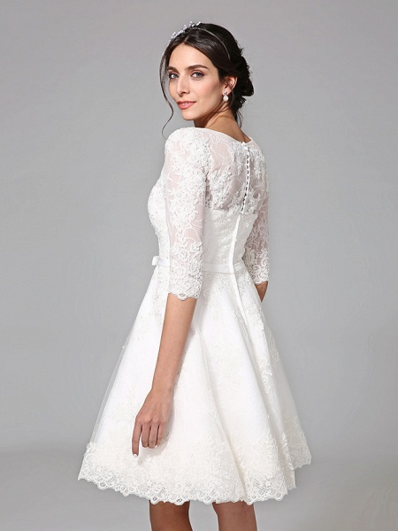 A-Line Wedding Dresses V Neck Knee Length All Over Lace 3\4 Length Sleeve Formal Casual Vintage Cute Illusion Sleeve_7