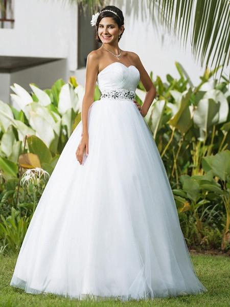 Ball Gown Wedding Dresses Sweetheart Neckline Floor Length Tulle Sleeveless Open Back_3