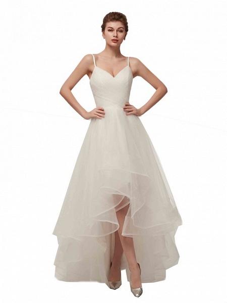 A-Line Wedding Dresses V Neck Asymmetrical Tulle Spaghetti Strap Simple Casual Little White Dress_2