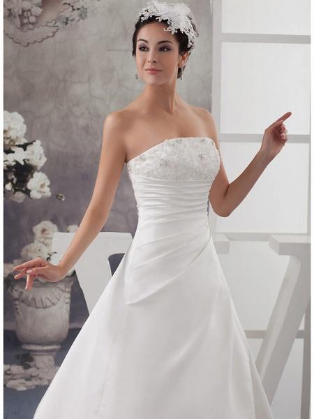 A-Line Strapless Chapel Train Lace Satin Strapless Wedding Dresses_4