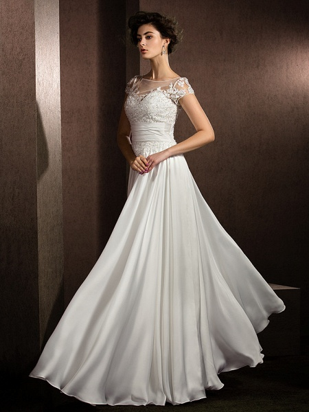 A-Line Wedding Dresses Scoop Neck Floor Length Satin Chiffon Short Sleeve Casual Plus Size_6