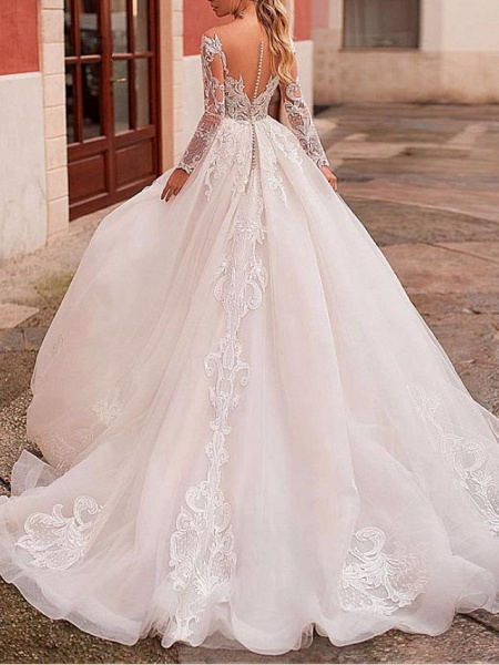 A-Line Wedding Dresses Jewel Neck Sweep \ Brush Train Lace Tulle Long Sleeve Formal Sexy See-Through Backless_2
