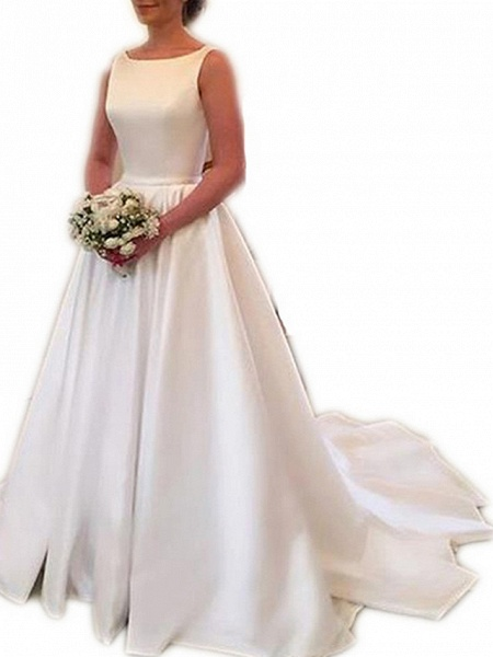 A-Line Wedding Dresses Jewel Neck Sweep \ Brush Train Stretch Satin Spaghetti Strap Simple Backless Elegant_2
