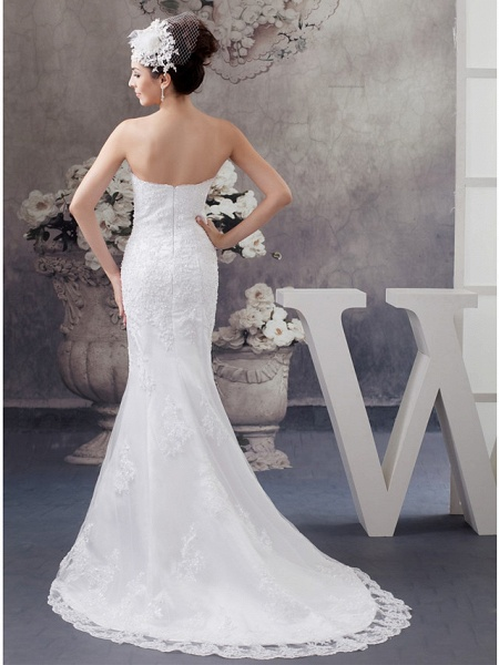 Mermaid \ Trumpet Strapless Court Train Lace Satin Half Sleeve Wedding Dresses_3