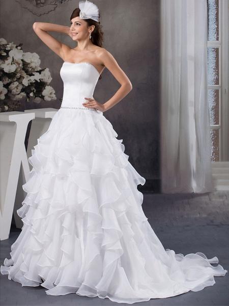 A-Line Strapless Court Train Organza Satin Strapless Wedding Dresses_2