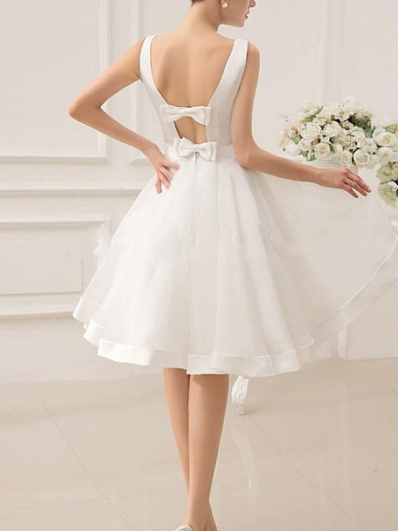 A-Line Wedding Dresses Jewel Neck Short \ Mini Satin Sleeveless Vintage Little White Dress 1950s_4