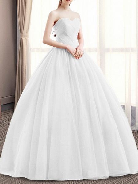 Ball Gown Wedding Dresses Sweetheart Neckline Floor Length Polyester Sleeveless Romantic Plus Size Red_3