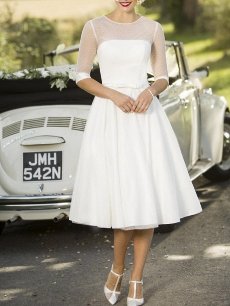A-Line Wedding Dresses Jewel Neck Tea Length Satin Tulle Half Sleeve Vintage Sexy Wedding Dress in Color_1