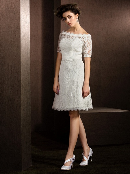 A-Line Wedding Dresses Bateau Neck Knee Length Lace Half Sleeve Formal Casual Little White Dress Illusion Sleeve_6