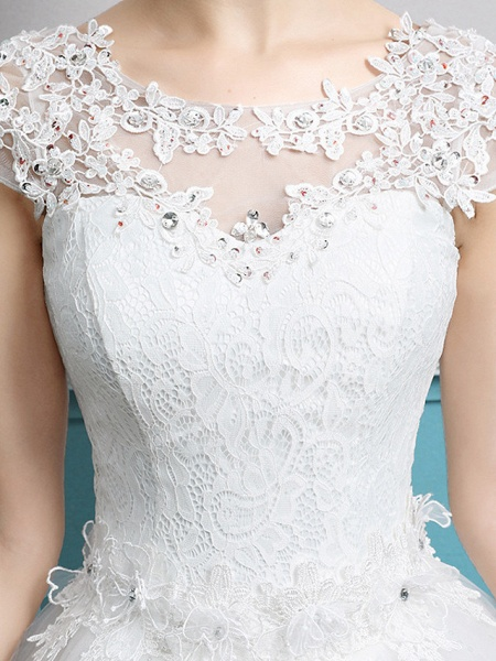 Ball Gown Wedding Dresses Jewel Neck Floor Length Lace Tulle Polyester Short Sleeve Romantic_5