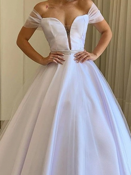 A-Line Wedding Dresses Off Shoulder Sweep \ Brush Train Tulle Polyester Short Sleeve Country Plus Size_2