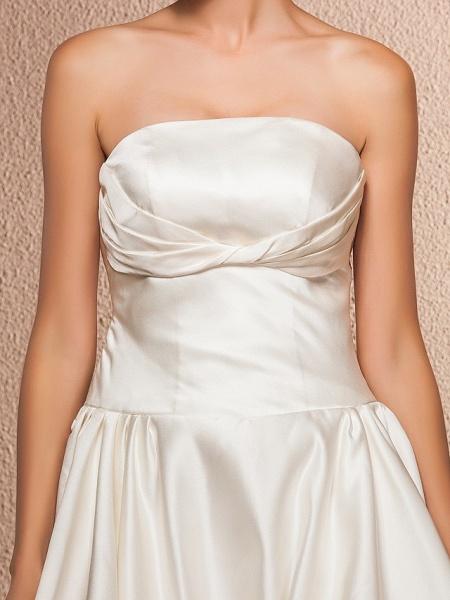 Ball Gown A-Line Wedding Dresses Strapless Knee Length Satin Sleeveless Little White Dress_7