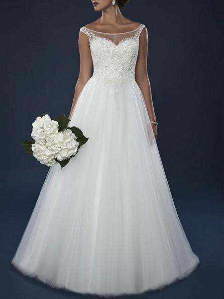 A-Line Wedding Dresses Off Shoulder Court Train Lace Tulle Short Sleeve_1