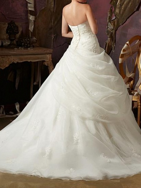 Ball Gown A-Line Wedding Dresses Strapless Sweep \ Brush Train Tulle Chiffon Over Satin Sleeveless Formal_3