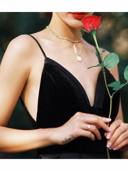 A-Line Wedding Dresses V Neck Floor Length Lace Spaghetti Strap Formal Black_2