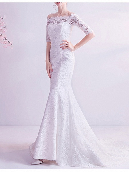 Mermaid \ Trumpet Wedding Dresses Off Shoulder Court Train Chiffon Tulle Half Sleeve Formal Illusion Detail Plus Size_2