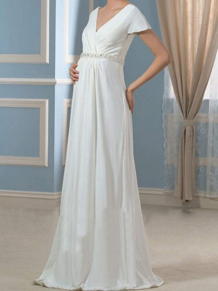 Sheath \ Column Wedding Dresses V Neck Sweep \ Brush Train Chiffon Cap Sleeve Simple_3