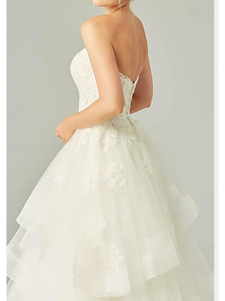 Ball Gown Wedding Dresses Strapless Sweep \ Brush Train Tulle Polyester Sleeveless Country Plus Size_3