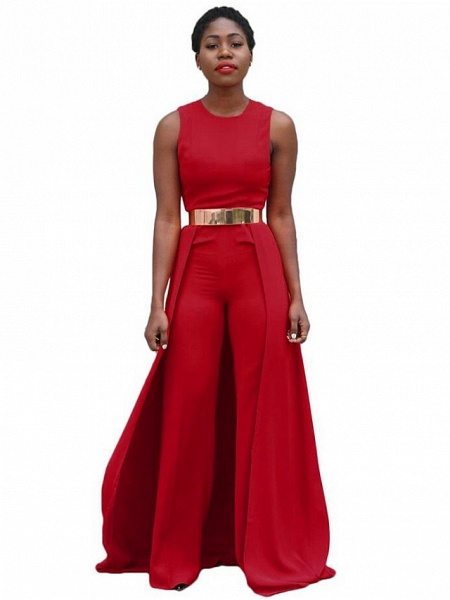 Women's Wide Leg Daily Red Jumpsuit_1