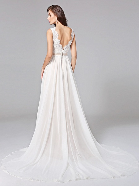 A-Line Wedding Dresses V Neck Court Train Chiffon Lace Regular Straps Romantic See-Through Plus Size Backless_3