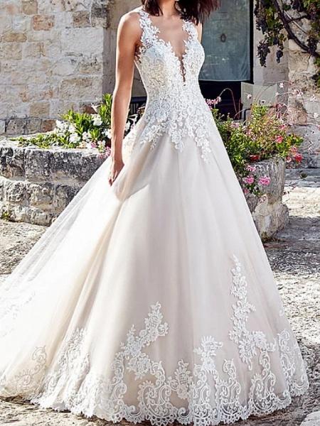 A-Line Wedding Dresses V Neck Court Train Lace Tulle Regular Straps_1