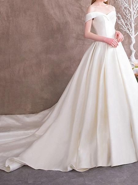 A-Line Wedding Dresses Off Shoulder Sweep \ Brush Train Satin Cap Sleeve Vintage_2