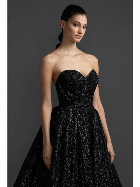 A-Line Wedding Dresses Sweetheart Neckline Court Train Satin Sequined Strapless Black Modern_2