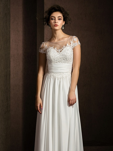 A-Line Wedding Dresses Scoop Neck Floor Length Satin Chiffon Short Sleeve Casual Plus Size_10