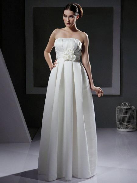 Princess A-Line Wedding Dresses Strapless Floor Length Satin Sleeveless_1