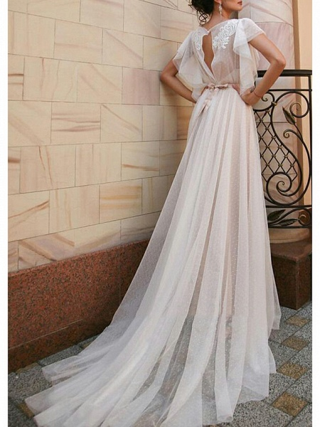 A-Line Wedding Dresses Jewel Neck Sweep \ Brush Train Tulle Short Sleeve Beach Boho Illusion Detail Backless_2