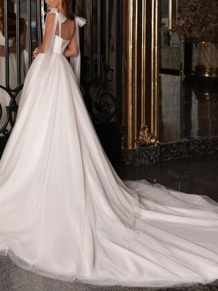 A-Line Wedding Dresses V Neck Spaghetti Strap Sweep \ Brush Train Satin Tulle Sleeveless Simple_3