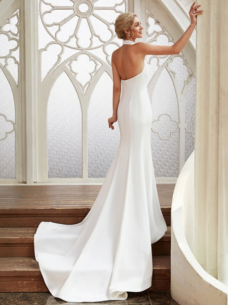 Sheath \ Column Wedding Dresses Halter Neck Court Train Chiffon Satin Regular Straps Simple Backless Elegant_2
