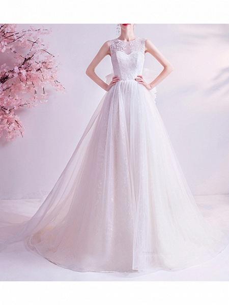 A-Line Wedding Dresses Jewel Neck Watteau Train Chiffon Tulle Sleeveless Formal Illusion Detail Plus Size_1