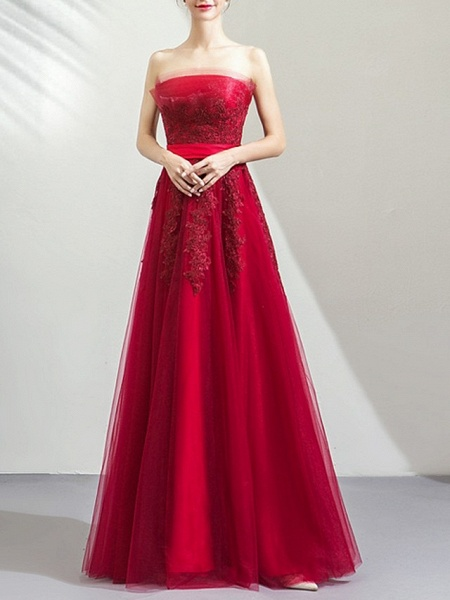 A-Line Wedding Dresses Strapless Floor Length Tulle Strapless Romantic Plus Size Red_1