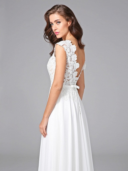Sheath \ Column Wedding Dresses Bateau Neck Sweep \ Brush Train Chiffon Floral Lace Cap Sleeve Romantic Illusion Detail Backless_8