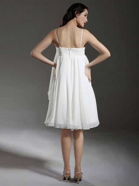 Princess A-Line Wedding Dresses Spaghetti Strap Knee Length Chiffon Sleeveless Little White Dress_4