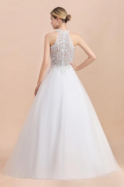 Halter Lace Appliques A-line Sequins Sleeveless Wedding Dress_3