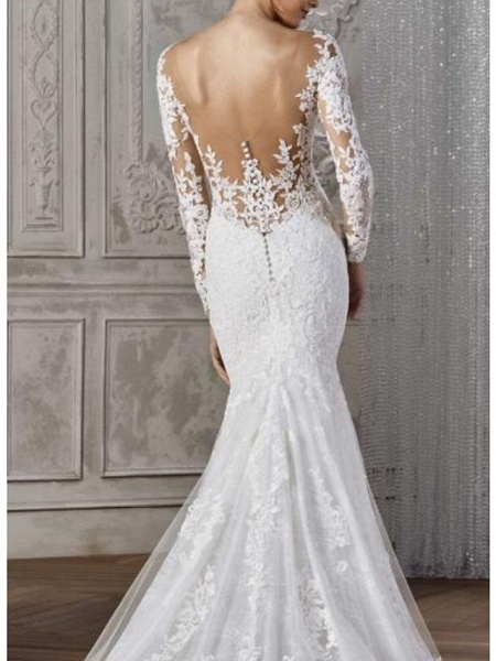Mermaid \ Trumpet Wedding Dresses V Neck Court Train Lace Satin Long Sleeve Sexy Backless Illusion Sleeve_2