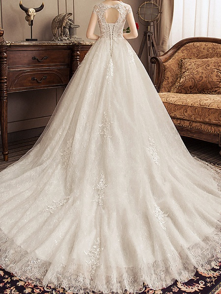 Ball Gown Jewel Neck Watteau Train Lace Tulle Polyester Short Sleeve Romantic Wedding Dresses_5